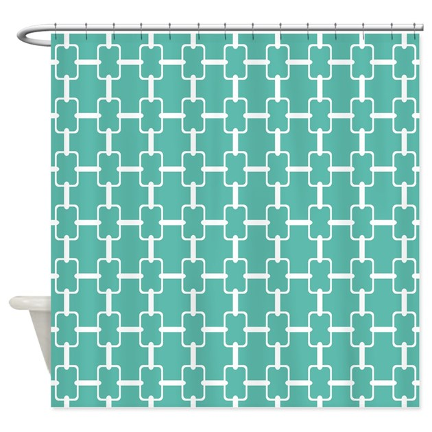Teal And White Rectangle Links Shower Curtain By HHTrendyHome