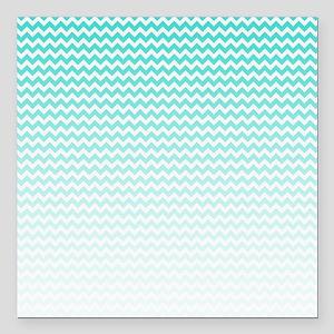 """Aqua Ombre Chevron Square Car Magnet 3"""" x 3"""""""
