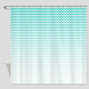 Aqua Ombre Chevron Shower Curtain