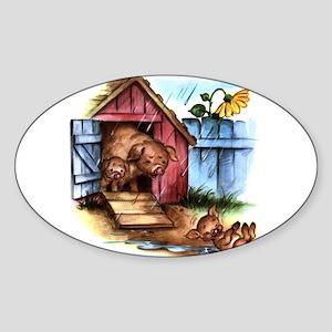 MUDDLE PUDDLE PIGS Oval Sticker