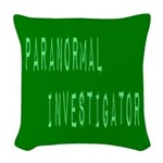 Paranormal Investigator (Label) Woven Throw Pillow