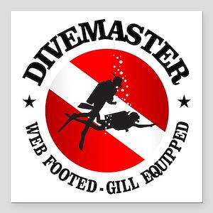 "Divemaster (Round) Square Car Magnet 3"" x 3"""
