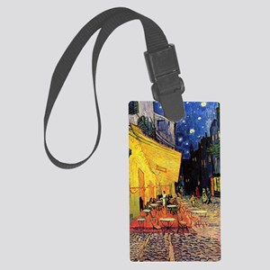 Cafe Terrace at Night by Vincent Large Luggage Tag