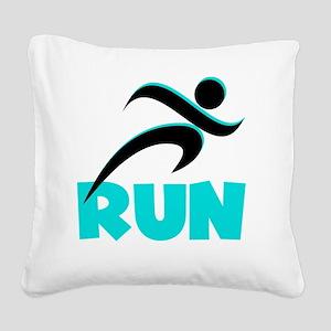 RUN Aqua Square Canvas Pillow