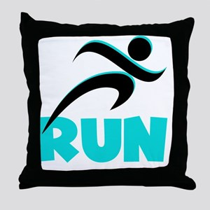 RUN Aqua Throw Pillow