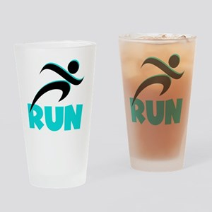 RUN Aqua Drinking Glass