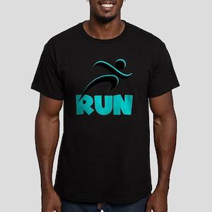 RUN Aqua Men's Fitted T-Shirt (dark)