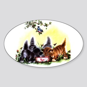 MEOW TIME KITTENS Oval Sticker