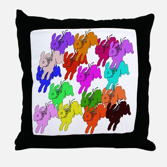 Rainbow Rabbits Throw Pillow