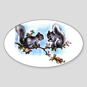 SQUIRRELY SQUIRRELS Oval Sticker