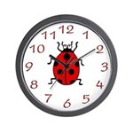 Red Lucky Ladybug Wall Clock