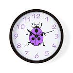 Purple Lucky Ladybug Wall Clock