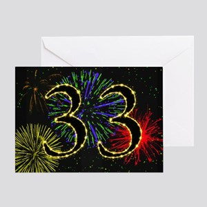 33rd birthday party fireworks Greeting Card