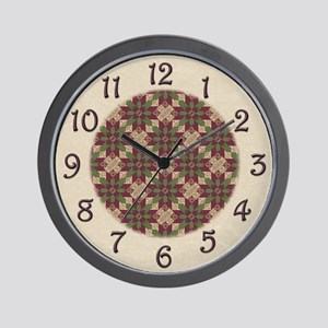 Quilted Green Burgundy Star Wall Clock
