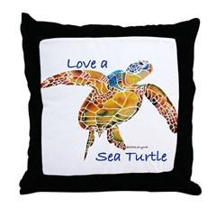 LOVE A SEATurtle Throw Pillow