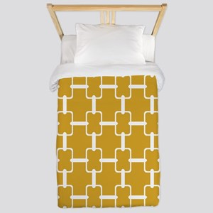 Gold and White Rectangle Links Twin Duvet
