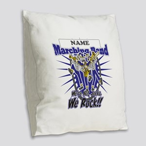 Marching Band Rocks(Blue) Burlap Throw Pillow