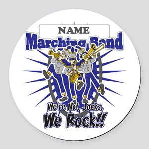 Marching Band Rocks(Blue) Round Car Magnet