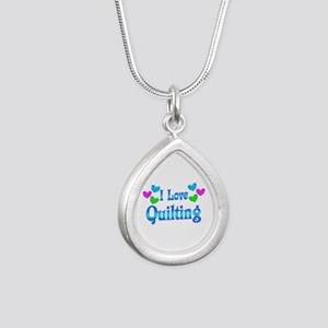 I Love Quilting Silver Teardrop Necklace