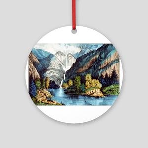 Yo-semite Falls California - 1856 Round Ornament