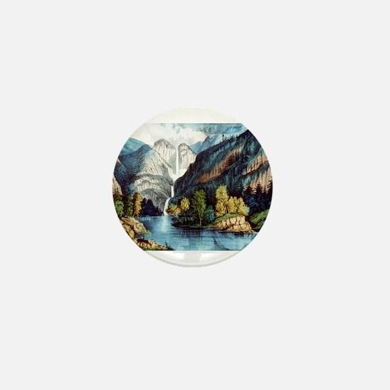 Yo-semite Falls California - 1856 Mini Button