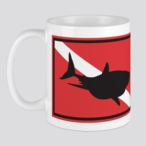 Shark Diving Flag Mug