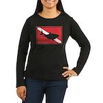 Shark Diving Flag Women's Long Sleeve Dark T-Shirt