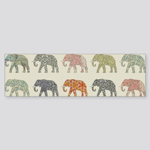 Elephant Colorful Repeating Pattern Bumper Sticker