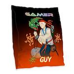 GamerGuy Burlap Throw Pillow