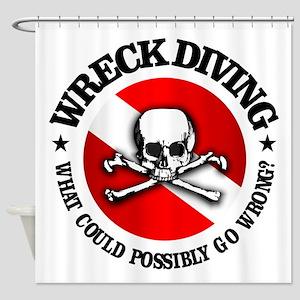 Wreck Diving (Skull) Shower Curtain