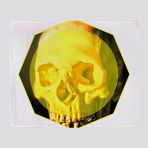 Skull - Death - Skeleton - Yellow Throw Blanket