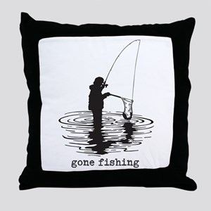 Personalized Gone Fishing Throw Pillow