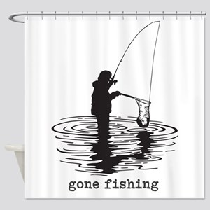 Personalized Gone Fishing Shower Curtain