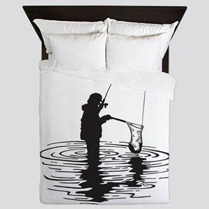 Personalized Gone Fishing Queen Duvet