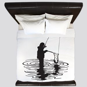Personalized Gone Fishing King Duvet