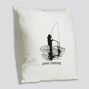 Personalized Gone Fishing Burlap Throw Pillow