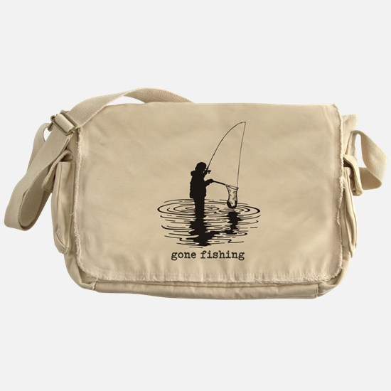 Personalized Gone Fishing Messenger Bag