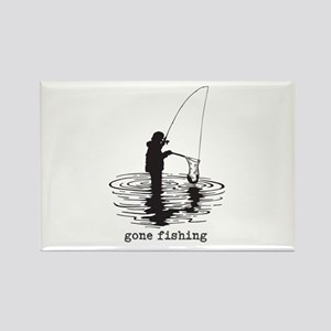 Personalized Gone Fishing Rectangle Magnet
