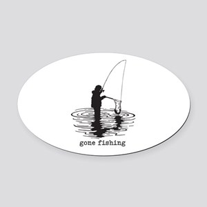 Personalized Gone Fishing Oval Car Magnet