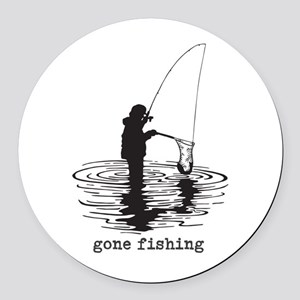 Personalized Gone Fishing Round Car Magnet