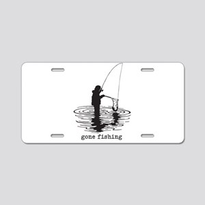 Personalized Gone Fishing Aluminum License Plate