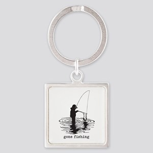 Personalized Gone Fishing Square Keychain