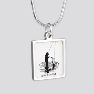 Personalized Gone Fishing Silver Square Necklace