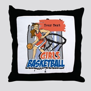 Personalized Girls Basketball Throw Pillow