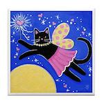 Black CAT Good Fairy ART Tile