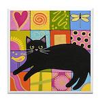 Black CAT On ART Quilt ART Tile