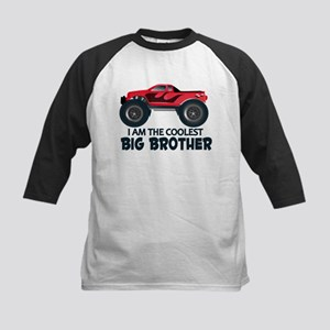 Coolest Big Brother - Truck Kids Baseball Jersey