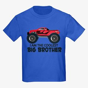 Coolest Big Brother - Truck Kids Dark T-Shirt