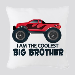 Coolest Big Brother - Truck Woven Throw Pillow