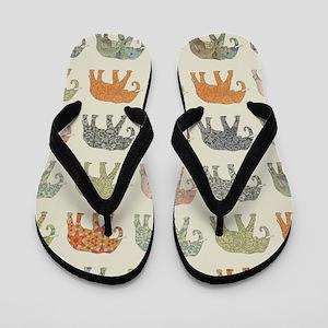 Elephant Colorful Repeating Pattern Dec Flip Flops